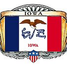 Iowa Art Deco Design with Flag by Cleave