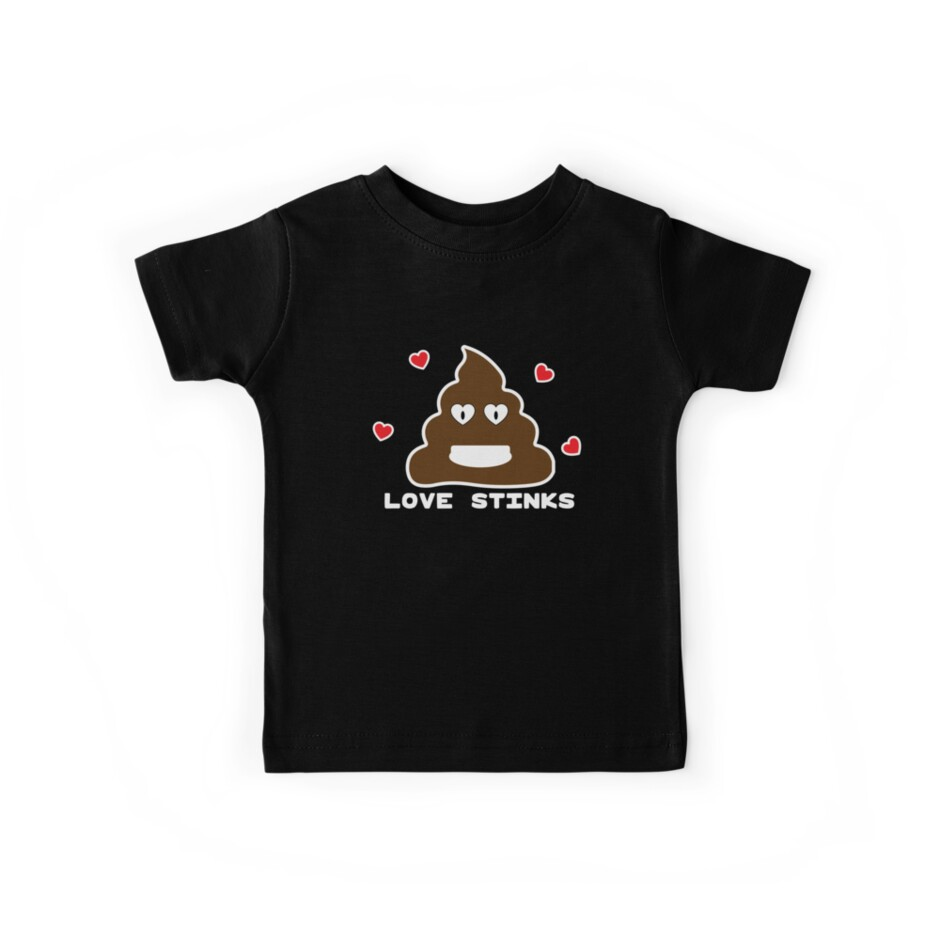 Valentines Day Kids Women Shirts Love Stinks Poop Emoji Kids Tees
