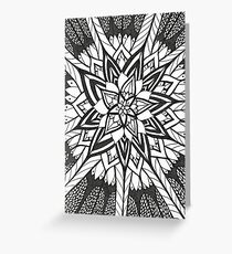 Sunflower Lotus ~ Black And White Greeting Card