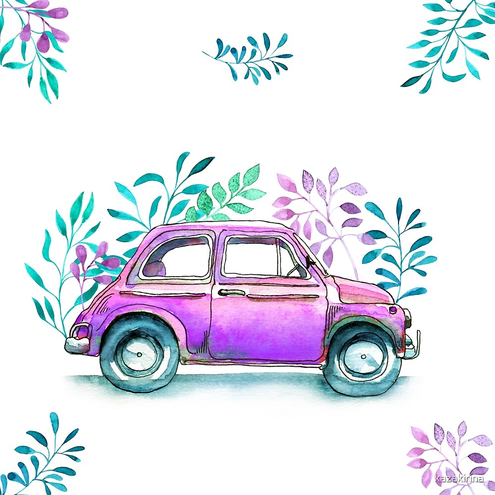 Vinage car, funny watercolor sketch of old retro cars\