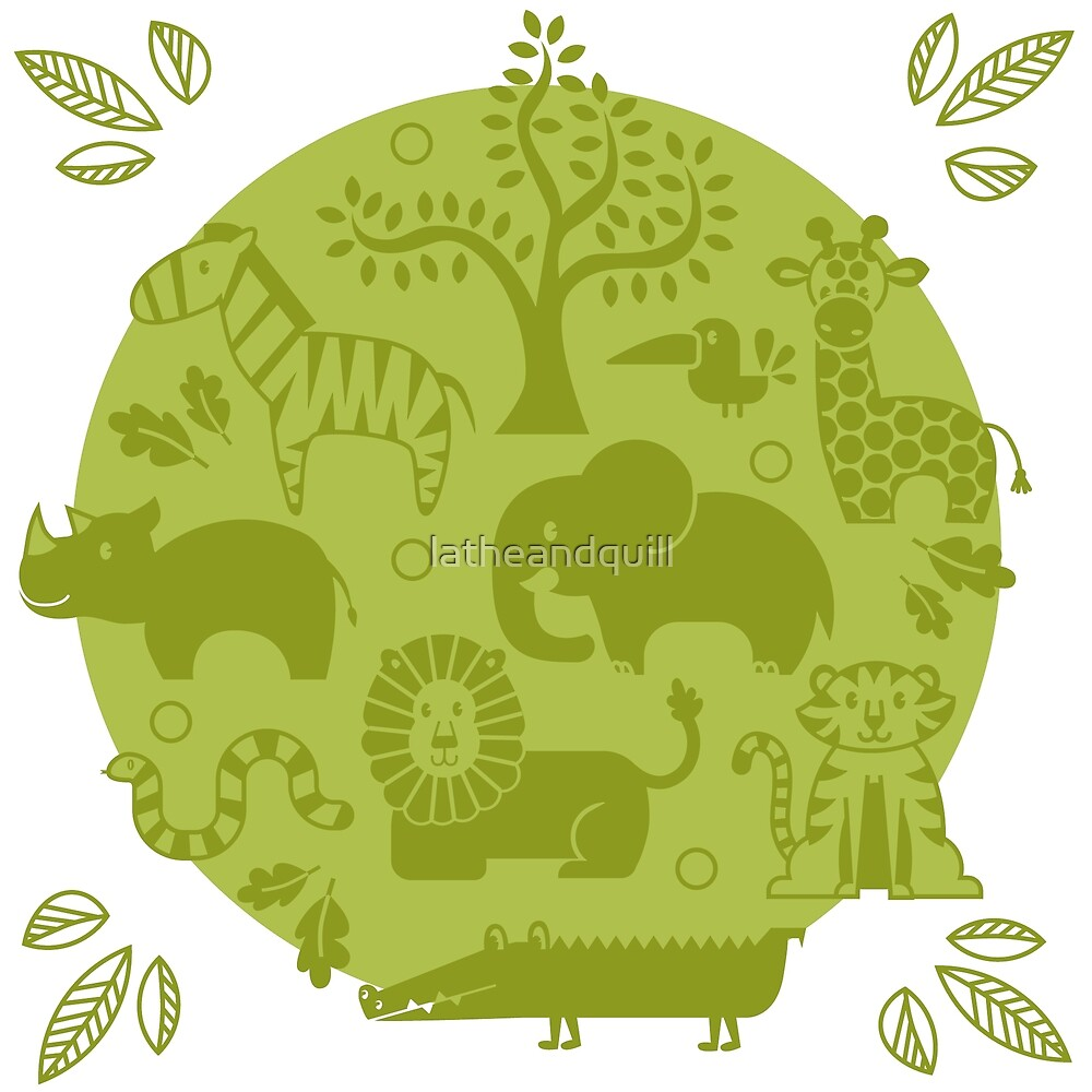 Green Zoo Animal Pattern by latheandquill