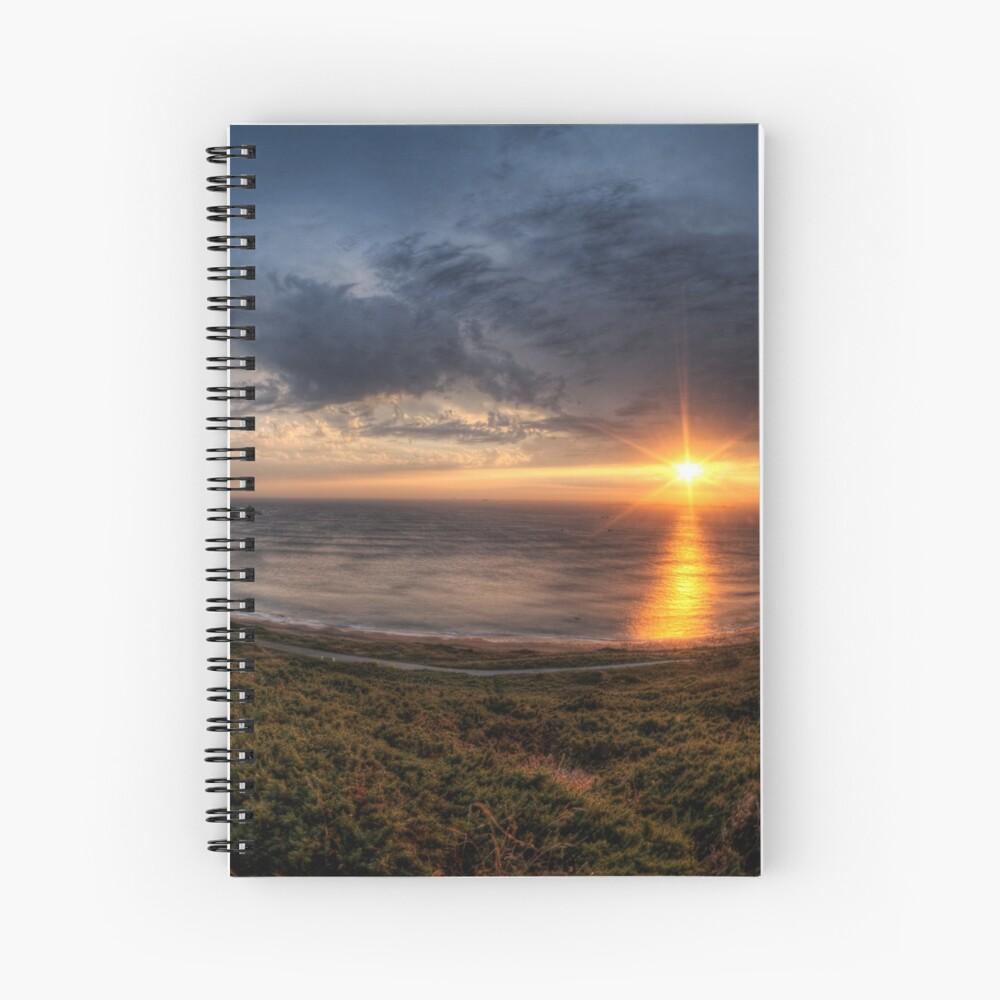 Sunset over Clonque Bay on Alderney Spiral Notebook