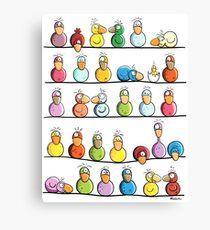 Funny Colorful Bird Farm Canvas Print