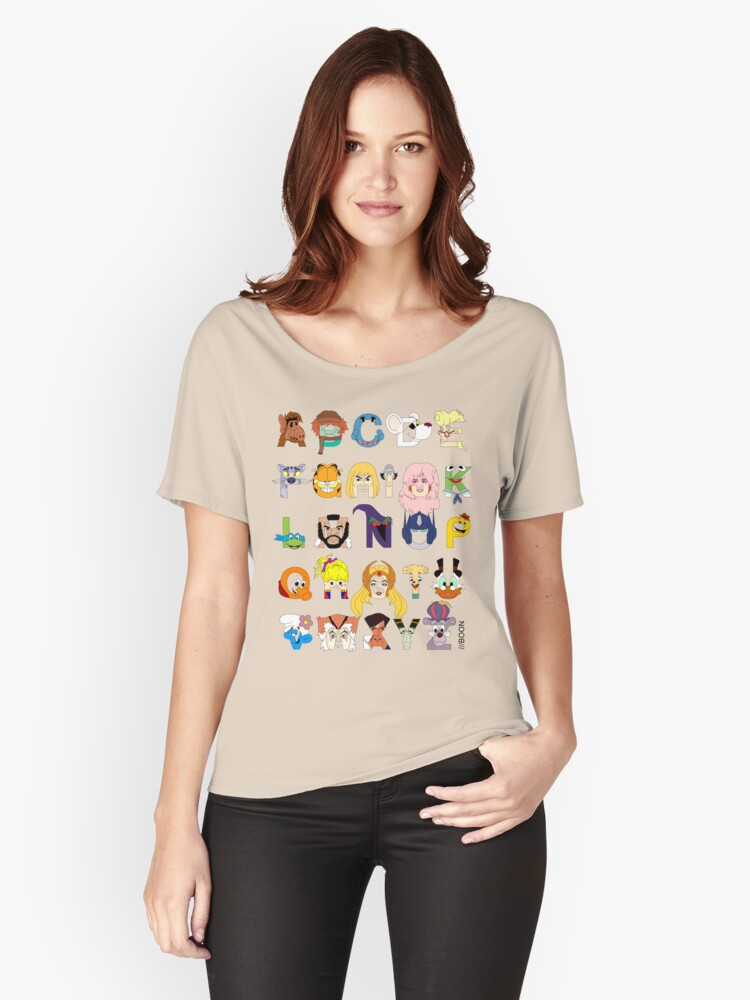 'Child of the 80s Alphabet' Women's Relaxed Fit T-Shirt by Mike Boon