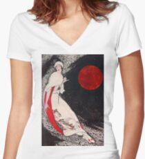 Fishing for the Moon Women's Fitted V-Neck T-Shirt