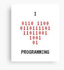 I Love Programming Binary Coding Canvas Print