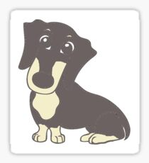 dachshund blue and cream cartoon Sticker