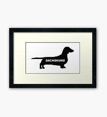 dachshund name silhouette Framed Print