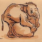 My Ball: Baby Elephant Watercolor Painting #8 by Rebecca Rees
