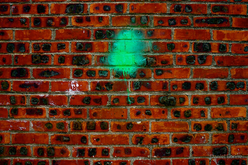 Peinture verte sur mur de briques by Daniel Sorine