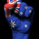 Flagge von Australien auf einer angehobenen geballten Faust von jeff bartels