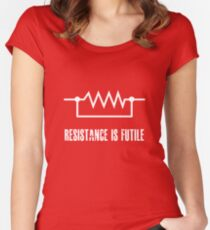 Resistance is futile - White foreground Women's Fitted Scoop T-Shirt