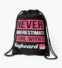 Never Underestimate A Girl With A Keyboard Drawstring Bag