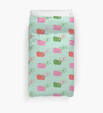 50s Retro Pattern - Green / Pink Duvet Cover