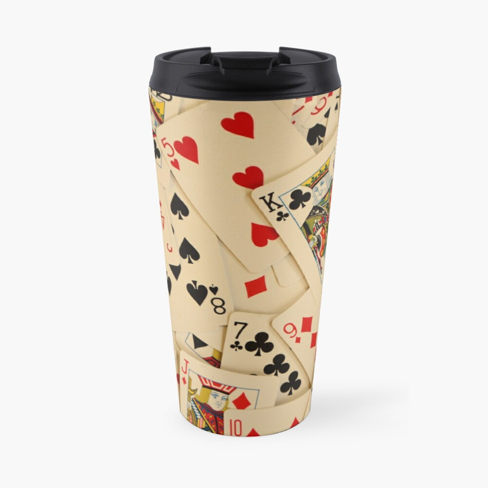 Scattered Pack of Playing Cards Hearts Clubs Diamonds Spades Pattern Travel Mug
