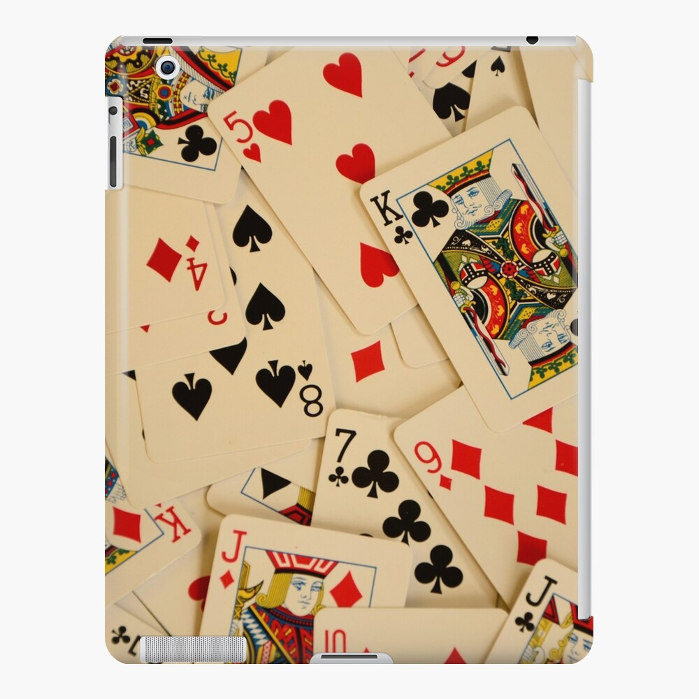 Scattered Pack of Playing Cards Hearts Clubs Diamonds Spades Pattern iPad Case & Skin