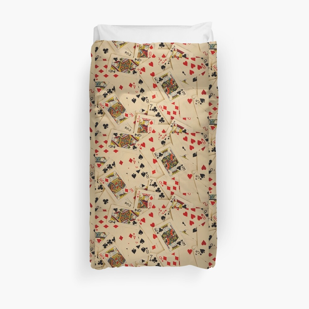 Scattered Pack of Playing Cards Hearts Clubs Diamonds Spades Pattern Duvet Cover