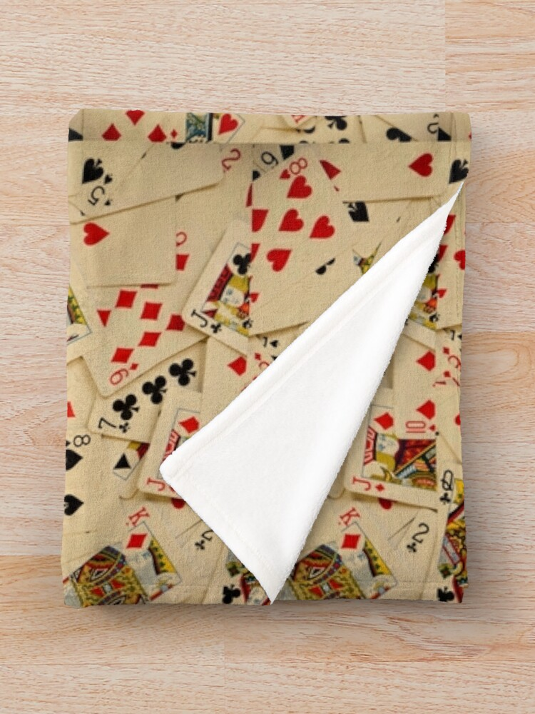 Alternate view of Scattered Pack of Playing Cards Hearts Clubs Diamonds Spades Pattern Throw Blanket