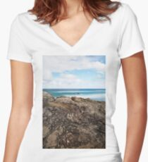 Main beach on Stradbroke Island, Queensland. Women's Fitted V-Neck T-Shirt