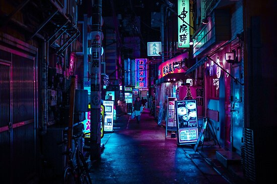 Quot Japanese Neon Night Quot Poster By Almafa123 Redbubble