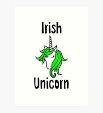 Irish Unicorn Green Hair Art Print