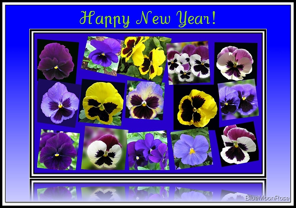 Floral New Year Card Featuring Pansies by BlueMoonRose