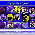 Blumen-neues Jahr-Karte, die Pansies kennzeichnet von BlueMoonRose