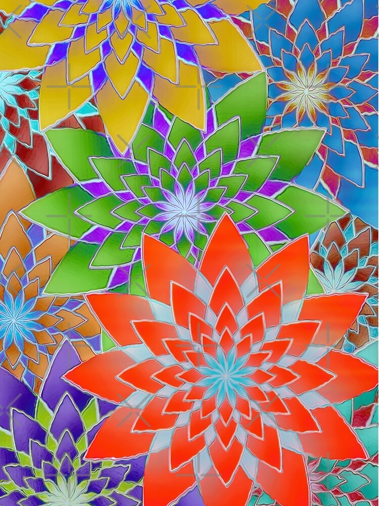 Colorful Geometric Flowers  by perkinsdesigns