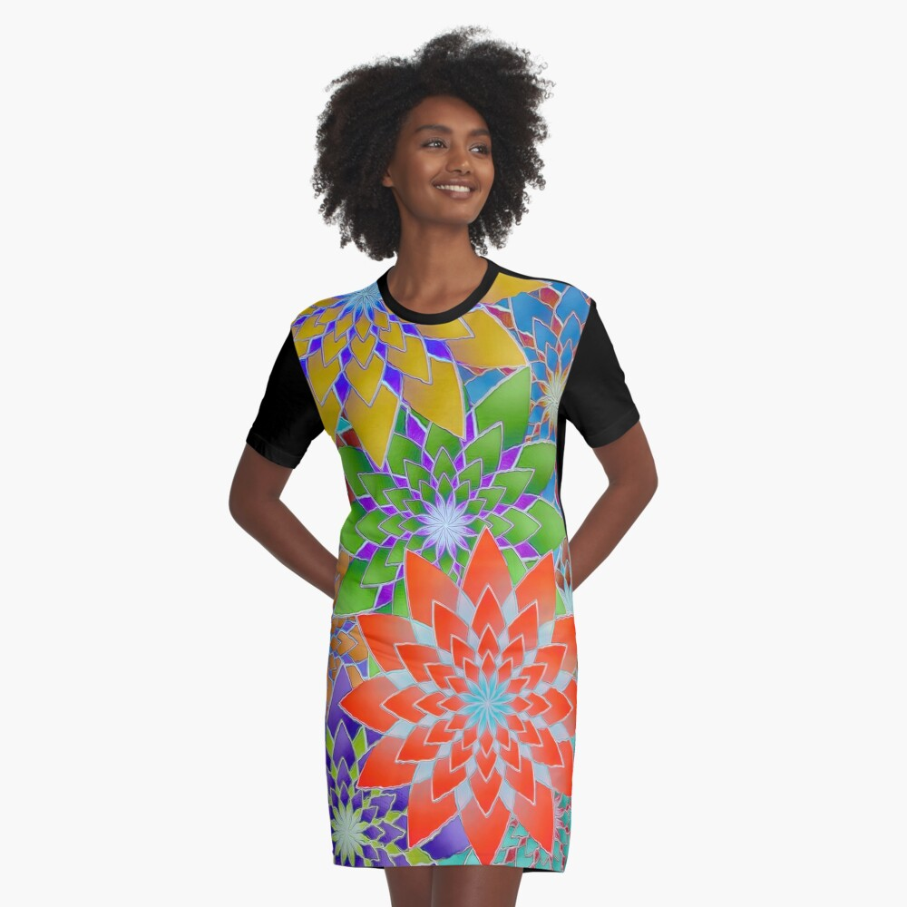Colorful Geometric Flowers  Graphic T-Shirt Dress