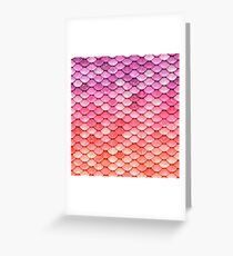Rose Gold Blush Sparkle Faux Glitter Mermaid Scales Greeting Card