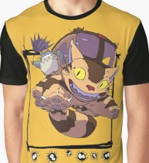 Totoro y Nekobus happy trip Camiseta gráfica