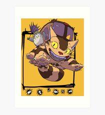 Totoro y Nekobus happy trip Lámina artística