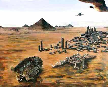 Desert with Animal Skeletons by Heinz Sterzenbach