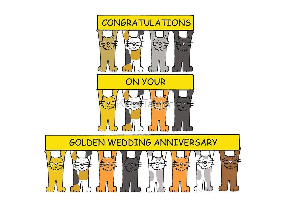 Goldene Hochzeitstag Glückwünsche Karikatur Katzen Die
