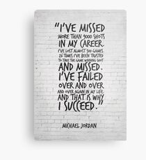 I've missed more than 9000 shots... Michael Jordan Inspirational Quote Metal Print