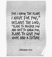 Bible Verse Art, Jeremiah 29:11, For I know the plans I have for you Poster