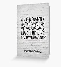 Gehen Sie selbstbewusst in die Richtung Ihrer Träume - inspirierendes Zitat Grußkarte