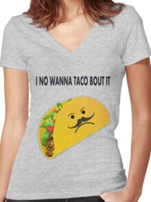Taco Face Unhappy Pun Women's Fitted V-Neck T-Shirt