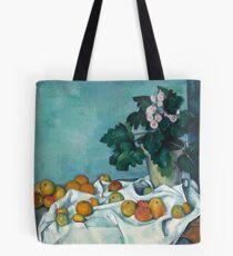 Stillleben mit Äpfeln und einem Topf mit Primeln Paul Cezanne 1890 Tote Bag