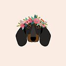 Dachshund floral crown dog breed pet art dachshunds doxie pupper gifts by PetFriendly