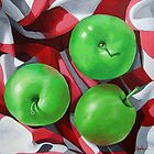 Granny Apples  realistic still life painting by LindaAppleArt