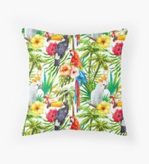 Tropical Parrot, Cockatoo and Toucan Rainforest Throw Pillow