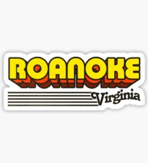 Roanoke, Virginia | Retro Stripes Sticker