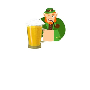 Funny St Patrick's Day Drinking Beer Leprechaun Shirt by 6thave