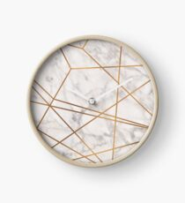 Golden Poly Marble Clock
