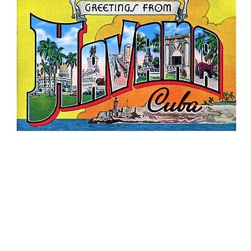 Greatings From Havana Cuba - Vintage Card by Drewaw