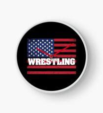 Wrestling USA Flag Design - Wrestling  Clock