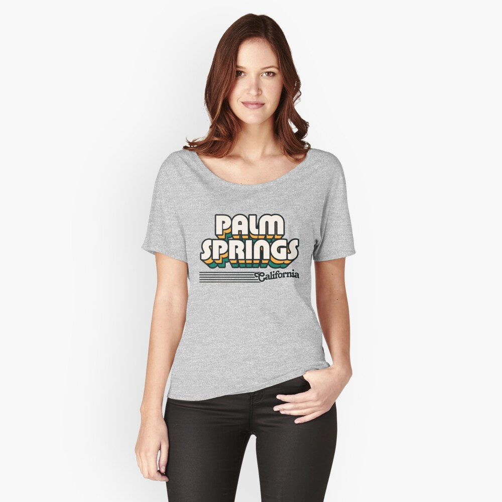 Palm Springs, California   Retro Stripes Relaxed Fit T-Shirt