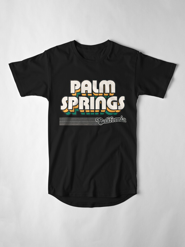 Alternate view of Palm Springs, California   Retro Stripes Long T-Shirt