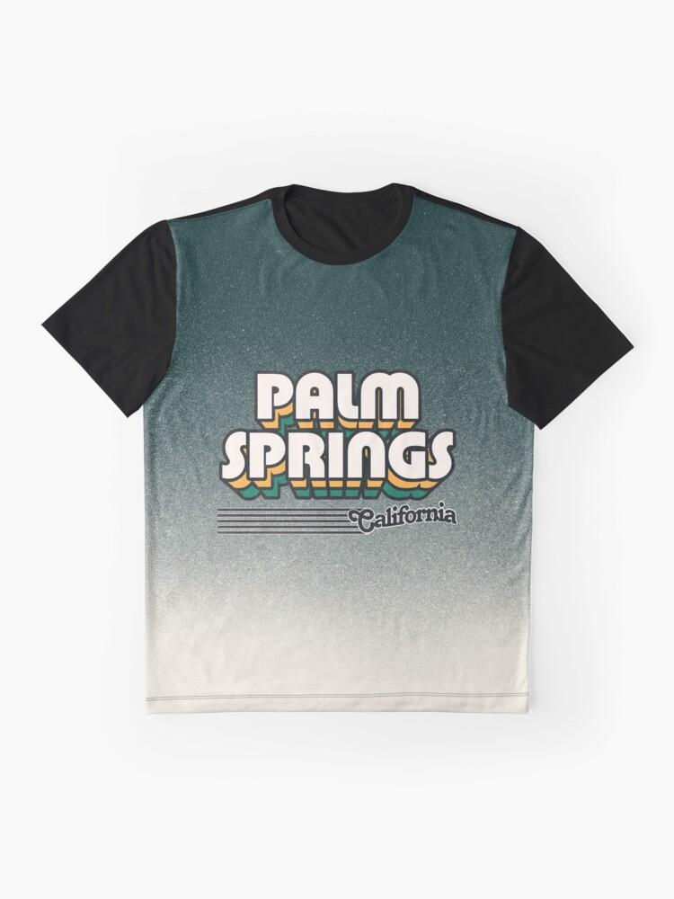 Alternate view of Palm Springs, California   Retro Stripes Graphic T-Shirt